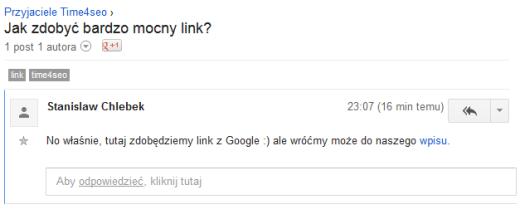 Tak wygląda link z grup Google