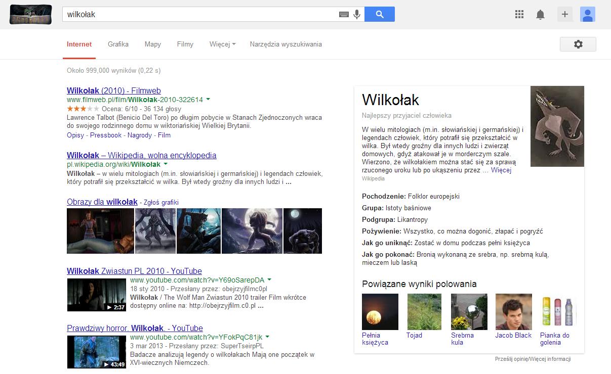 wilkołak w google